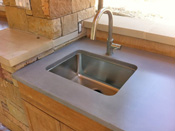 outdoor kitchen stained concrete bar and counter austin