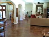 stained and stamped concrete interior floor austin