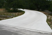 curved driveway at Austin residence