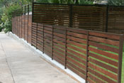 Horizontal wood fence with metal frame