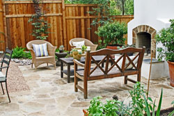 stone patio with brick oven in Austin